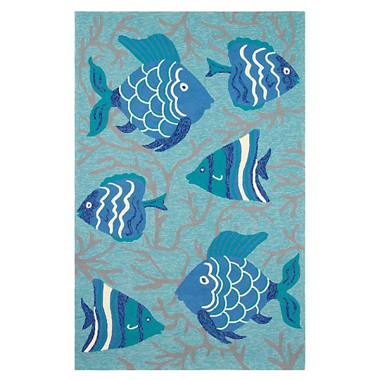 Go fish rug outdoor easy care rugs c for Fish bathroom rug