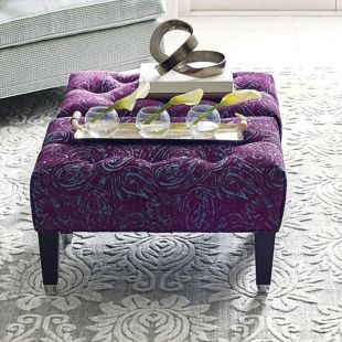 Westport Small Tufted  Ottoman - Taboola Plum