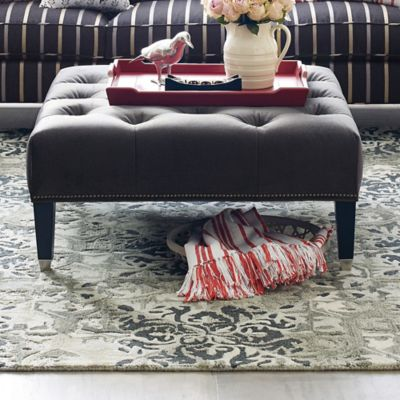 Westport Square Tufted Ottoman - Salvador Black image 1