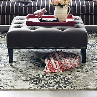 Westport Square Tufted Ottoman - Salvador Black